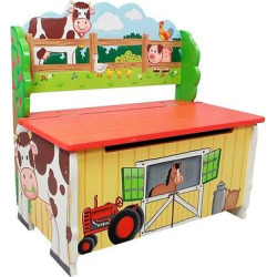 fantasy fields happy farm storage bench wood teamson - Fantasy Fields Happy Farm Storage Bench Wood- Teamson