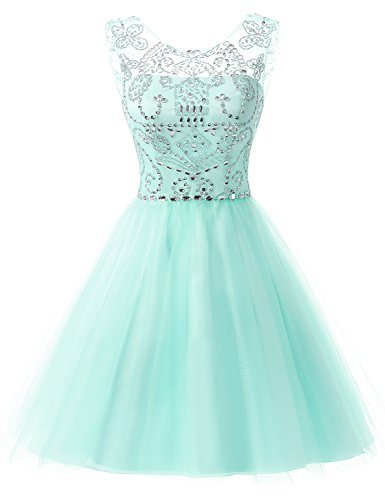 Sarahbridal Women's Short Tulle Prom Party Dress Beading Crystal Homecoming Gowns Mint US12