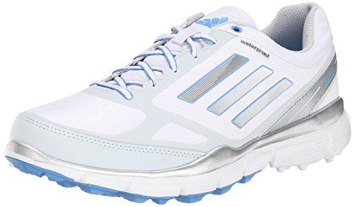 adidas Women's W Adizero Sport III Golf Shoe, Running White/Silver Metallic/Lucky Blue, 9.5 M US