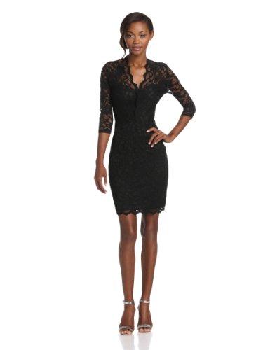 Karen Kane Women's V-Neck Scallop Lace Dress, Black, Medium