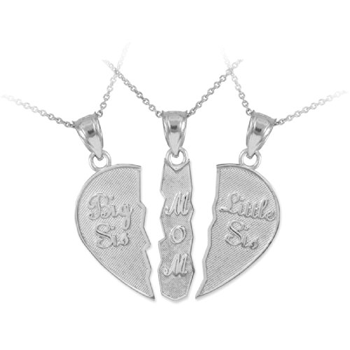 Personalized Sterling Silver Mom and Daughters Custom 3-Piece Breakable Heart Necklace (16″ (Big Sis) – 16″ (Mom) – 16″ (Lil Sis))