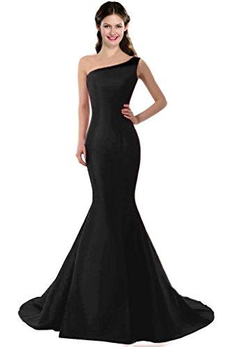 Color E Dress Design Brief Elegant Mermaid One-Shoulder Evening Dress Size 6 Black
