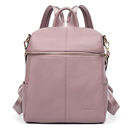 BOSTANTEN Geniune Leather Fashion Backpack Purse Casual School Bags for Women Pink