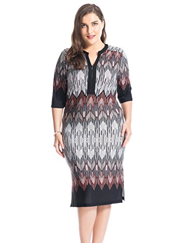 Chicwe Women's Plus Size Printed Zipped V Neck Border Dress – Knee Length Casual and Work Dress 26