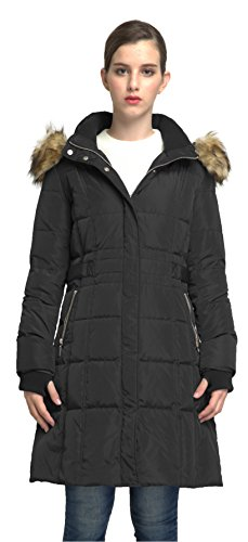 Orolay Women's Puffer Down Coat Winter Jacket with Faux Fur Trim Hood YRF8020Q Black XS