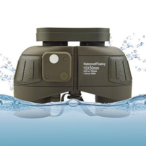 Feyachi 10x50mm Marine Binoculars with Illuminate Compass + Binoculars Strap +Storage Bag for Hiking Camping Boating Army Green