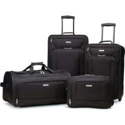 American Tourister Fieldbrook XLT 4-Piece Wheeled Luggage Set with Boarding Bag, Black