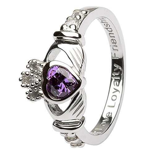 FEBRUARY Birth Month Silver Claddagh Ring LS-SL90-2 – Size: 7 Made in Ireland.