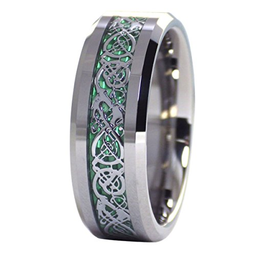 Fantasy Forge Jewelry Green Celtic Dragon Tungsten Ring Carbon Fiber Wedding Band Size 11