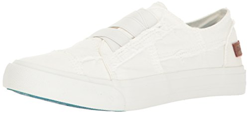 Blowfish Women's Marley Fashion Sneaker, White Color Washed Canvas, 7.5 M US