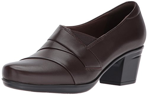 CLARKS Women's Emslie Warbler Pump,Dark Brown Leather,7 M US