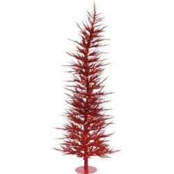 6ft Pre-Lit Artificial Christmas Tree Red Laser – with 150 Red Led Lights