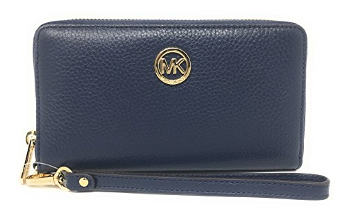 Michael Kors Fulton Large Flat Multi Function Leather Phone Case (Navy)