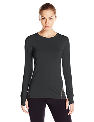 Tommie Copper Women's Performance Rhythm Long Sleeve Crew Shirt, Black, X-Large