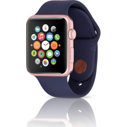 Apple Watch Gen 1 38mm Rose Gold Case w/ Midnight Blue Sport Band (Refurbished)