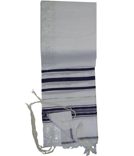 Talitnia Acrylic Tallit (Imitation Wool) Prayer Shawl Blue and Silver Stripes in Size 24″ Long and 72″ Wide