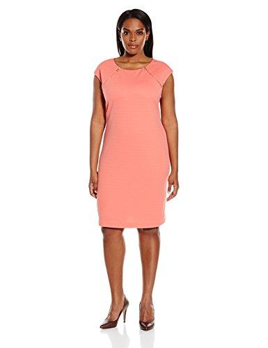 Calvin Klein Women's Plus Size Textured Dress with Zip at Yoke, Porcelain Rose, 14W