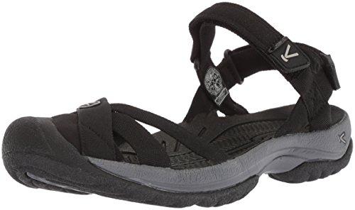 KEEN Women's Bali Strap-W Sandal, Black/Steel Grey, 9.5 M US