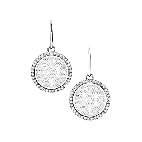 Michael Kors Logo Silver-Tone Drop Earrings