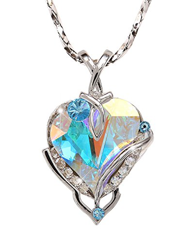 Big Heart Pendant Necklace with Swarovski Crystal. MADE IN USA. (P8134-AB-3019)