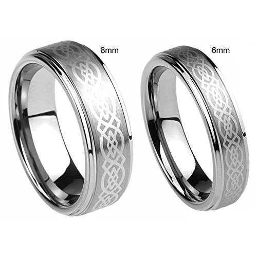 Personalized His & Her's 8MM/6MM Tungsten Carbide Wedding Band Ring Set Free Laser Engraved