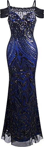 Angel-fashions Women's Paillette Spaghetti Strap Bateau Sheath Ball Gown Medium,Black