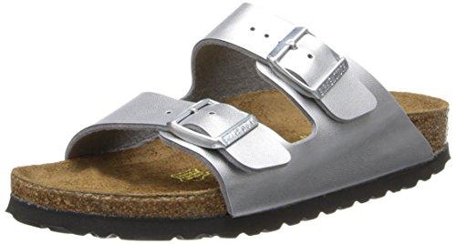 Birkenstock Unisex Arizona Silver Sandals – 38 N EU / 7-7.5 2A(N) US