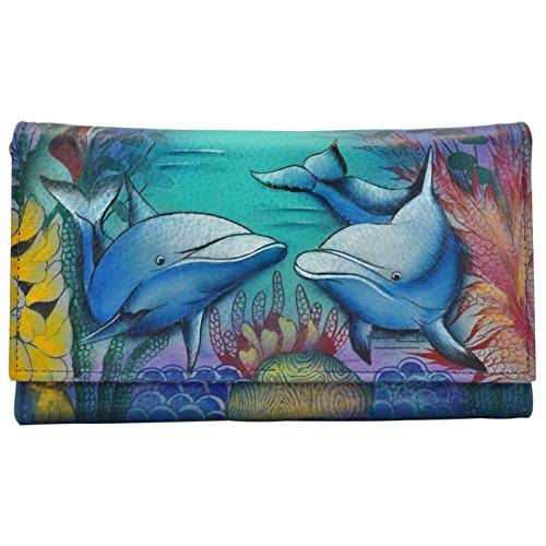 Anuschka Checkbook Wallet/Clutchdolphin World, Dolphin World