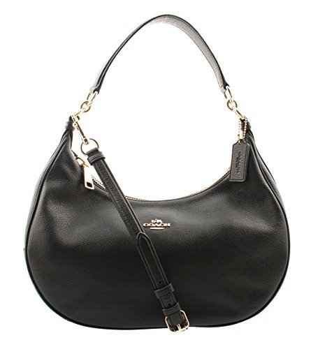 Coach Pebble Leather Harley East West Hobo in Black, F38250 IMBLK