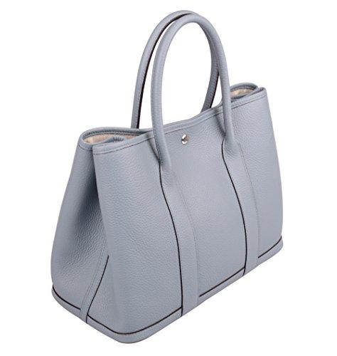 Ainifeel Women's Genuine Leather Top Handle Handbag Shopping Bag Tote Bag (Grey blue)