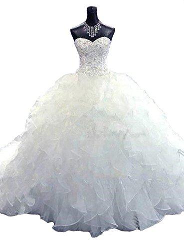 Lovelybride Noble Sweetheart Beaded Organza Wedding Dresses Bridal Gowns (12, White)