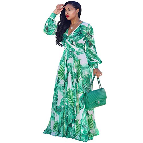 Nuofengkudu Womens Chiffon Deep V-Neck Printed Floral Maxi Dress Long Sleeves Waisted Belt Plus Size (Green)