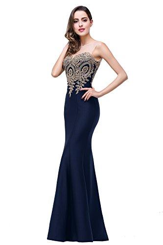 Babyonlinedress Women's Lace Applique Long Formal Mermaid Evening Prom Dresses,Dark Navy,4