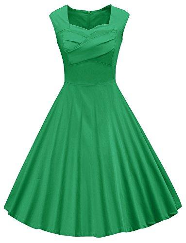 VOGVOG Women's 1950s Retro Vintage Cap Sleeve Party Swing Dress, Green, XX-Large