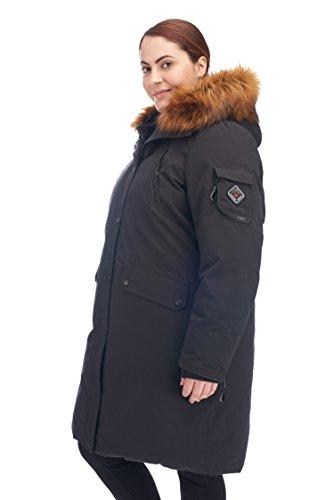 Alpine North Women's Plus Size Down Long Parka, Black, 1X