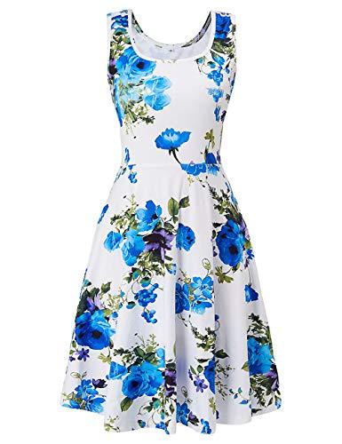 Uideazone Women's Girls Sleeveless Floral Print A Line Dress