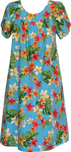RJC Women's Yellow Plumeria Tea Length Hawaiian Muumuu House Dress Blue Large