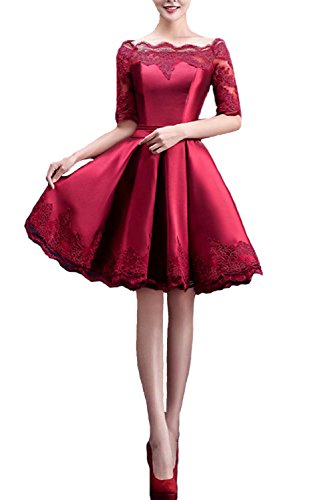 Fanhao Women's Off The Shoulders Lace Sleeves Short Evening Gown Prom Dress,Burgundy,L