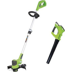 Greenworks 24V Axial Blower and 12 Trimmer Combo Kit, Green
