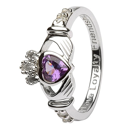 JUNE Birth Month Silver Claddagh Ring LS-SL90-6 – Size: 9 Made in Ireland.