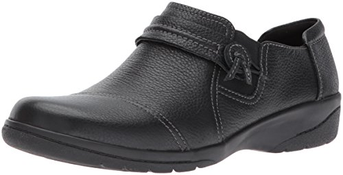 Clarks Women's Cheyn Madi Loafer, Black Tumbled Leather, 8 M US