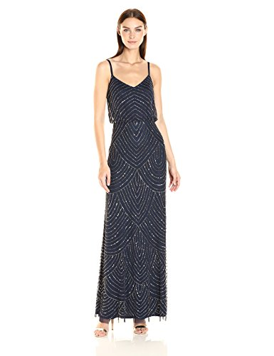 Adrianna Papell Women's Long Beaded Blouson Gown, Navy, 16