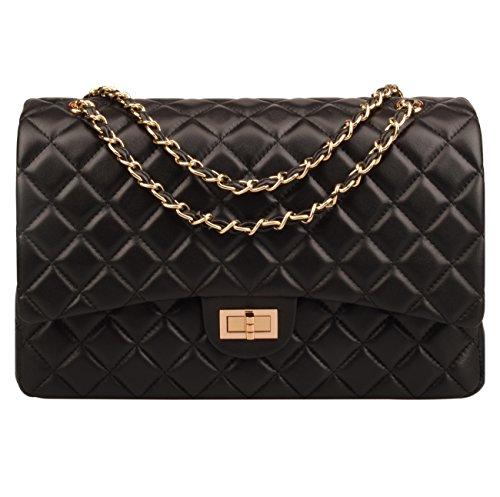 Ainifeel Women's Quilted Oversize Genuine Leather Shoulder Handbag Hobo Bag Purse (X-Large, Black with gold hardware)