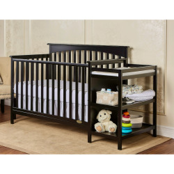 Dream On Me Chloe 5-in-1 Convertible Crib & Changer, Black