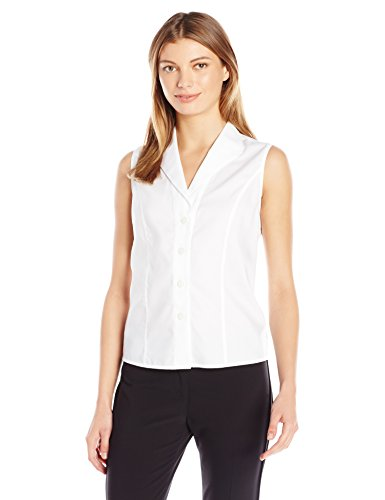 Calvin Klein Women's Sleeveless Wrinkle Free Button Down, White, 12
