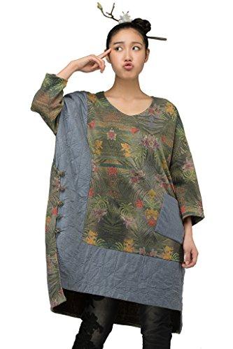 Jiqiuguer Womens Bohemian Ethnic Plus Size T-Shirts V-Neck Batwing Tops Tunics Linen …