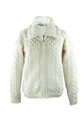 Irish Merino Wool Double Collar Zipper Aran Sweater, Natural XL