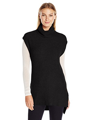 Lark & Ro Women's Soft Cowlneck Tunic Sweater with Side Slits, Black, Medium