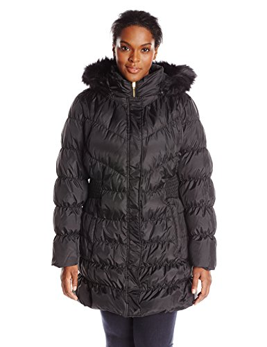 Via Spiga Women's Diamond Quilted Down Coat with Faux Fur Collar, Black, 2X