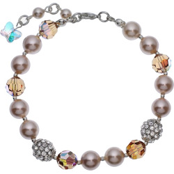 Crystal Avenue Silver-Plated Simulated Pearl and Crystal Bracelet – Made with Swarovski Crystals, Women's, Size: 7″, Brown